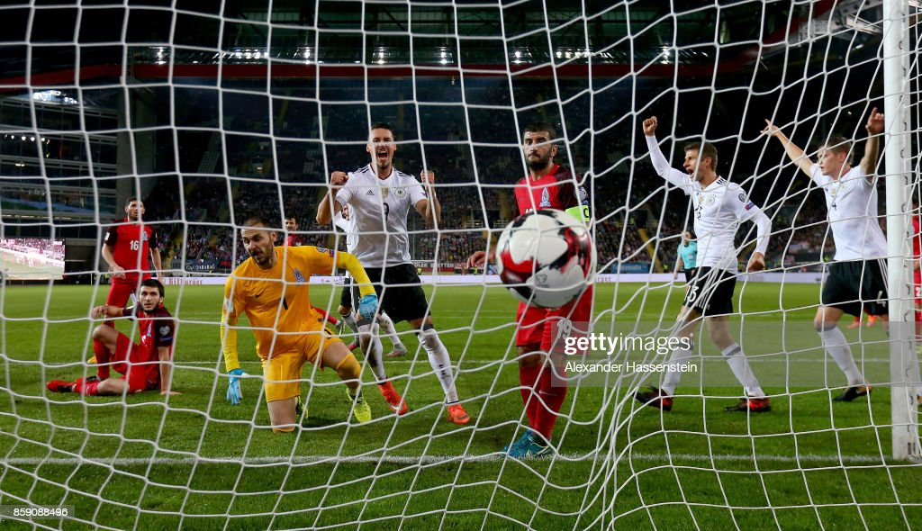 Antonio Ruediger (not pictured) of Germany scores the 3rd goal during the FIFA 2018 World Cup Qualifier between Germany and Azerbaijan at Fritz-Walter-Stadion on October 8, 2017 in Kaiserslautern, Rhineland-Palatinate.