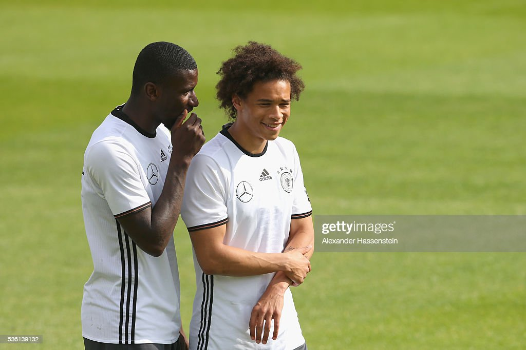 Antonio Ruediger of Germany smiles with his team mate Leroy Sane (R) during a training session at Stadio communale on day 8 of the German national team trainings camp on May 31, 2016 in Ascona, Switzerland.