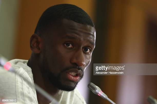 Antonio Ruediger of Germany talks to the media during a Press Conference of the German national team at Radisson Blu Paradise Resort Spa on June 17...