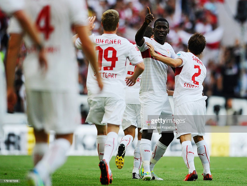 Antonio Ruediger of Stuttgart celebrates his team's first goal with team mates during the Bundesliga match between VfB Stuttgart and 1899 Hoffenheim at Mercedes-Benz Arena on September 1, 2013 in Stuttgart, Germany.