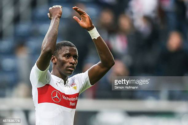 Antonio Ruediger of Stuttgart celebrates winning after the Bundesliga match between Eintracht Frankfurt and VfB Stuttgart at CommerzbankArena on...