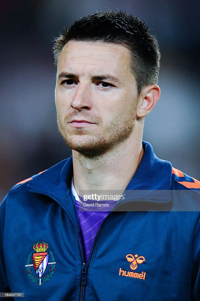 <a gi-track='captionPersonalityLinkClicked' href=/galleries/search?phrase=Antonio+Rukavina&family=editorial&specificpeople=4329297 ng-click='$event.stopPropagation()'>Antonio Rukavina</a> of Real Valladolid CF looks on during the La Liga match between FC Barcelona and Real Valladolid CF at Camp Nou on October 5, 2013 in Barcelona, Spain.