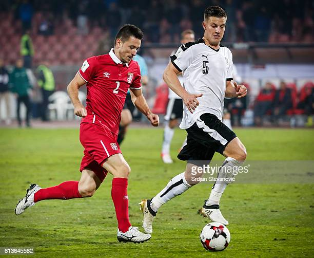 Antonio Rukavina of Serbia in action against Kevin Wimmer of Austria during the FIFA 2018 World Cup Qualifier between Serbia and Austria at stadium...