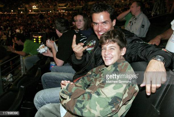 Antonio Sabato Jr and son during WWE Monday Night RAW with Surprise Guest Kevin Federline at The Staples Center in Los Angeles California United...