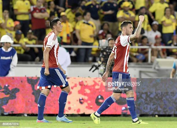 Antonio Sanabria of Paraguay celebrates after scoring the second goal of his team during a match between Colombia and Paraguay as part of FIFA 2018...