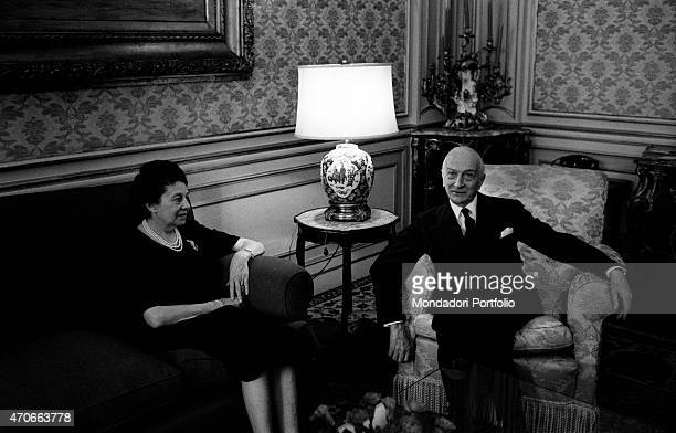 'Antonio Segni and his wife Laura Carta Caprino in one of the wealthy rooms of the Imperial Apartments within the Quirinal Palace their new home...