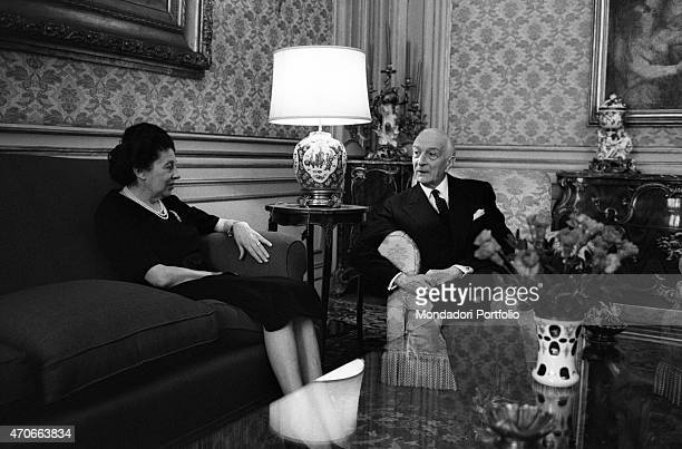 'Antonio Segni and his wife Laura Carta Caprino in one of the wealthy rooms of the Imperial Apartments within Quirinal Palace their new home since...