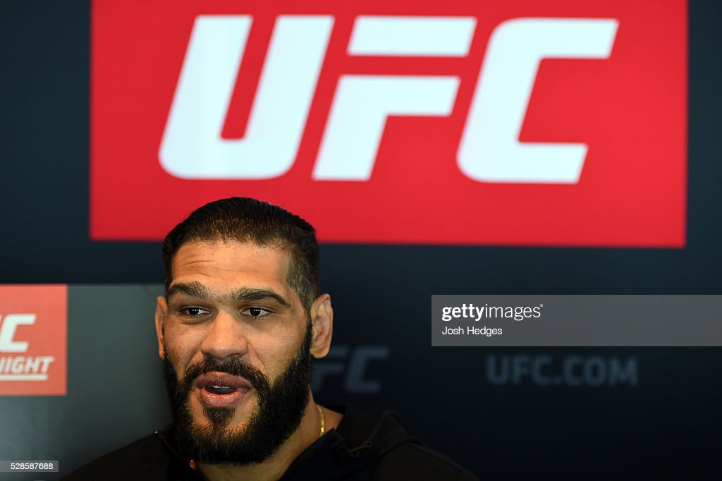 Antonio Silva of Brazil interacts with media during the UFC Ultimate Media Day at the Mainport Hotel on May 6, 2016 in Rotterdam, Netherlands.