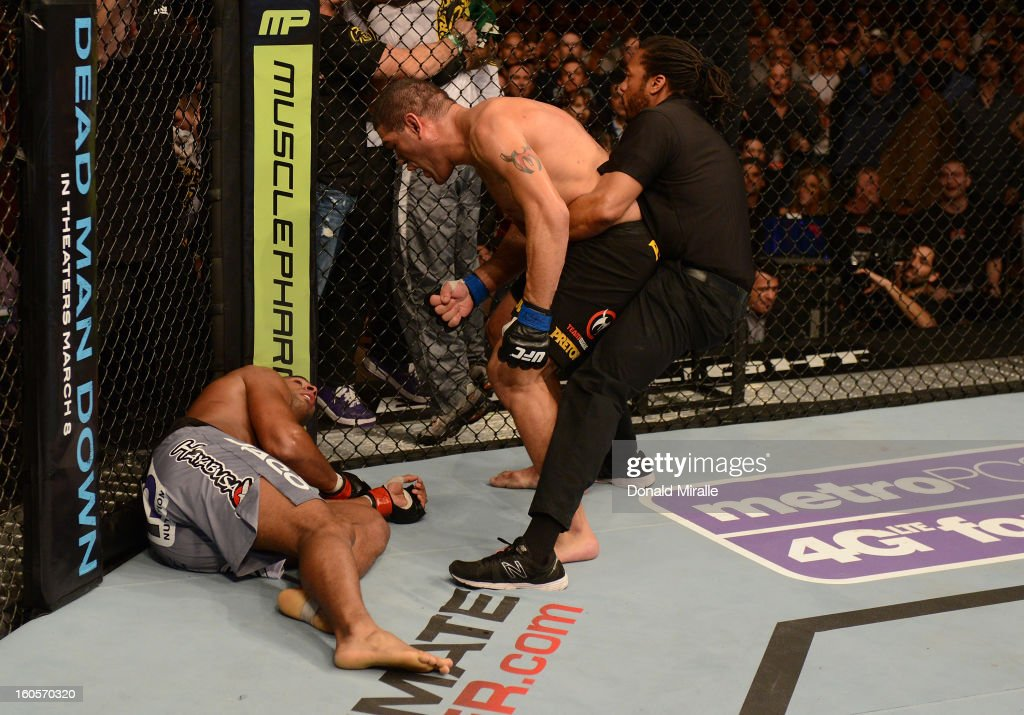 Antonio Silva reacts after his knockout victory over Alistair Overeem during their heavyweight fight at UFC 156 on February 2, 2013 at the Mandalay Bay Events Center in Las Vegas, Nevada.
