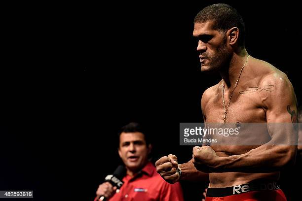 Antonio Silva steps onto the scale during the UFC 190 weighin inside HSBC Arena on July 31 2015 in Rio de Janeiro Brazil