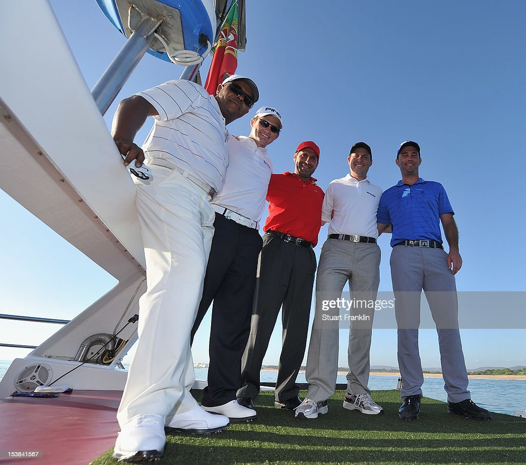 Antonio Sobrinho of Portugal, Tom Lewis of England, Ryder cup captain Jose Maria Olazabal of Spain, David Howell of England and Ricardo Santos of Portugal pose for a picture prior to hitting shots from a boat to a target on a small boat prior to the start of the Portugal Masters golf on October 9, 2012 in Faro, Portugal.