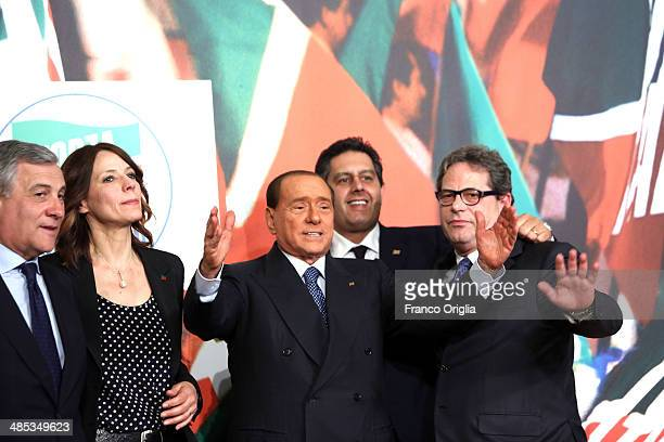 Antonio Tajani Elisabetta Gardini Silvio Berlusconi Giovanni Toti and Gianfranco Micciche attend a press conference to open the European electoral...