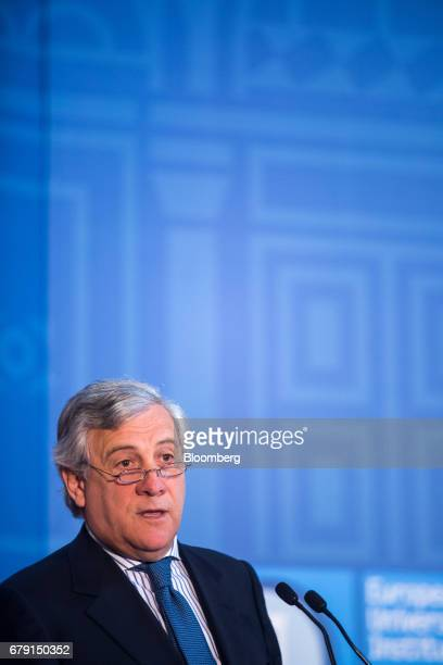 Antonio Tajani president of the European Parliament delivers a speech at The State Of The Union 2017 conference in Florence Italy on Friday May 5...