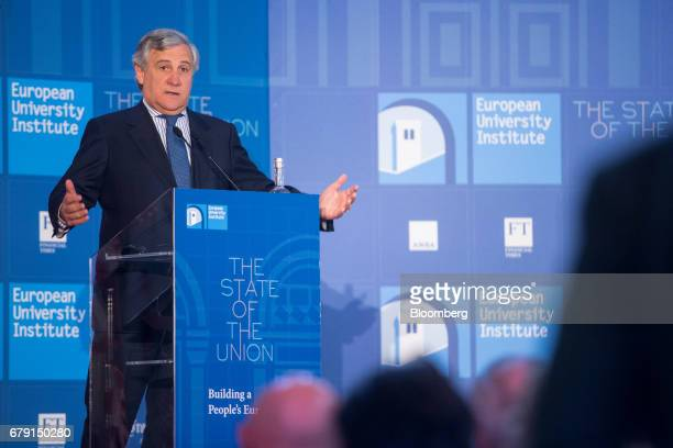 Antonio Tajani president of the European Parliament gestures while delivering a speech at The State Of The Union 2017 conference in Florence Italy on...