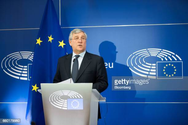 Antonio Tajani president of the European Parliament speaks during a news conference at the European Parliament in Brussels Belgium on Wednesday March...