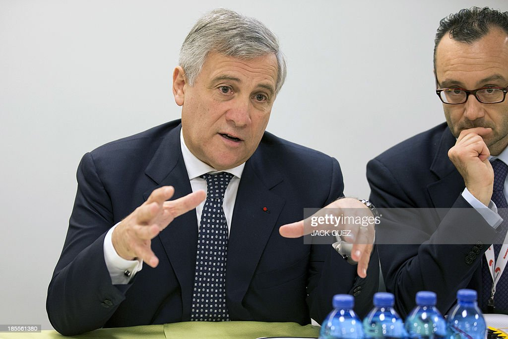 Antonio Tajani, vice President and Commissioner for Industry and Entrepreneurship of the European Commission, speaks during a meeting with Israeli Minister for Minister of Energy and Water as part of the WATEC Water Technology Exhibition in the Mediterranean coastal city of Tel Aviv, on October 22, 2013.