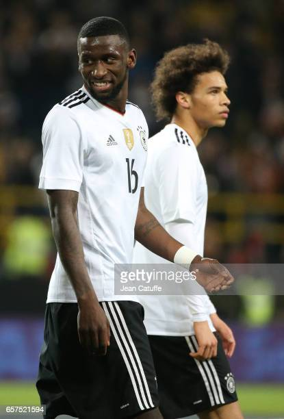 Antonio Toni Rudiger and Leroy Sane of Germany look on following the international friendly match between Germany and England at Signal Iduna Park on...