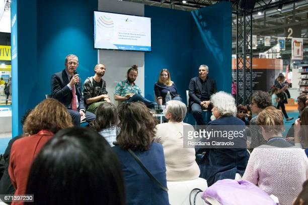 Antonio Troiano Fabio Genovesi Vanni Santoni Teresa Ciabatti and Maurizio De Giovanni attend Tempo Di Libri Book Show on April 21 2017 in Milan Italy