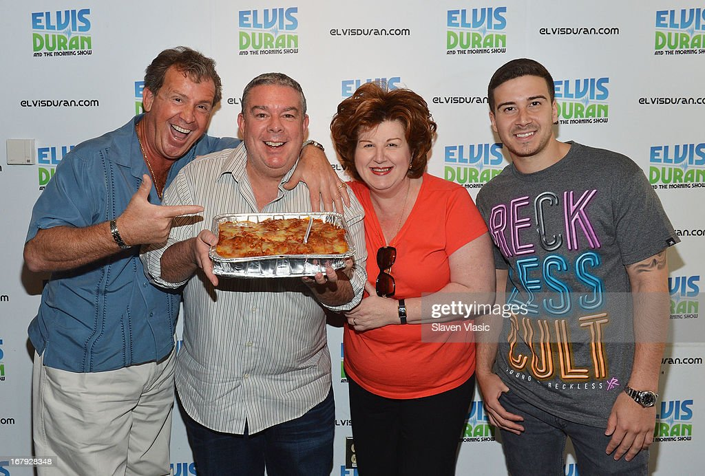 Antonio 'Uncle Nino' Giaimo, Elvis Duran, Paola Giaimo and Vincent 'Vinny' Guadagnino visit Elvis Duran Z100 Morning Show at Z100 Studio on May 2, 2013 in New York City.