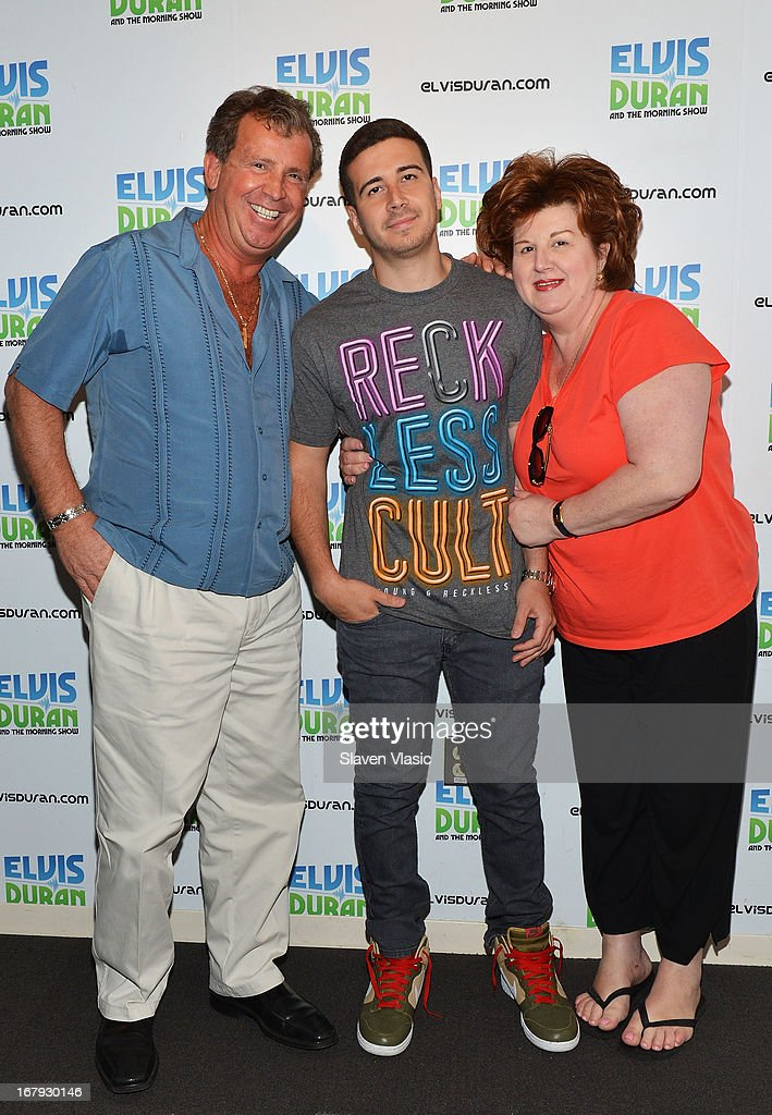 Antonio 'Uncle Nino' Giaimo, Vincent 'Vinny' Guadagnino and Paola Giaimo visit Elvis Duran Z100 Morning Show at Z100 Studio on May 2, 2013 in New York City.