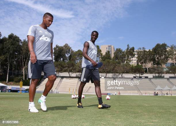 Antonio Valencia and Axel Tuanzebe of Manchester United in action during a first team training session as part of their preseason tour of the USA at...