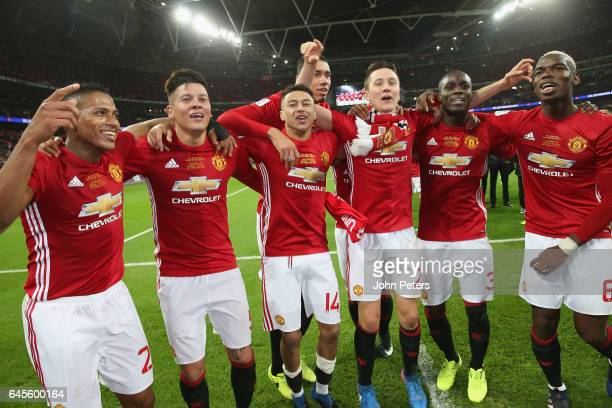 Antonio Valencia Marcos Rojo Jesse Lingard Ander Herrera Eric Bailly and Paul Pogba of Manchester United celebrate after the EFL Cup Final match...