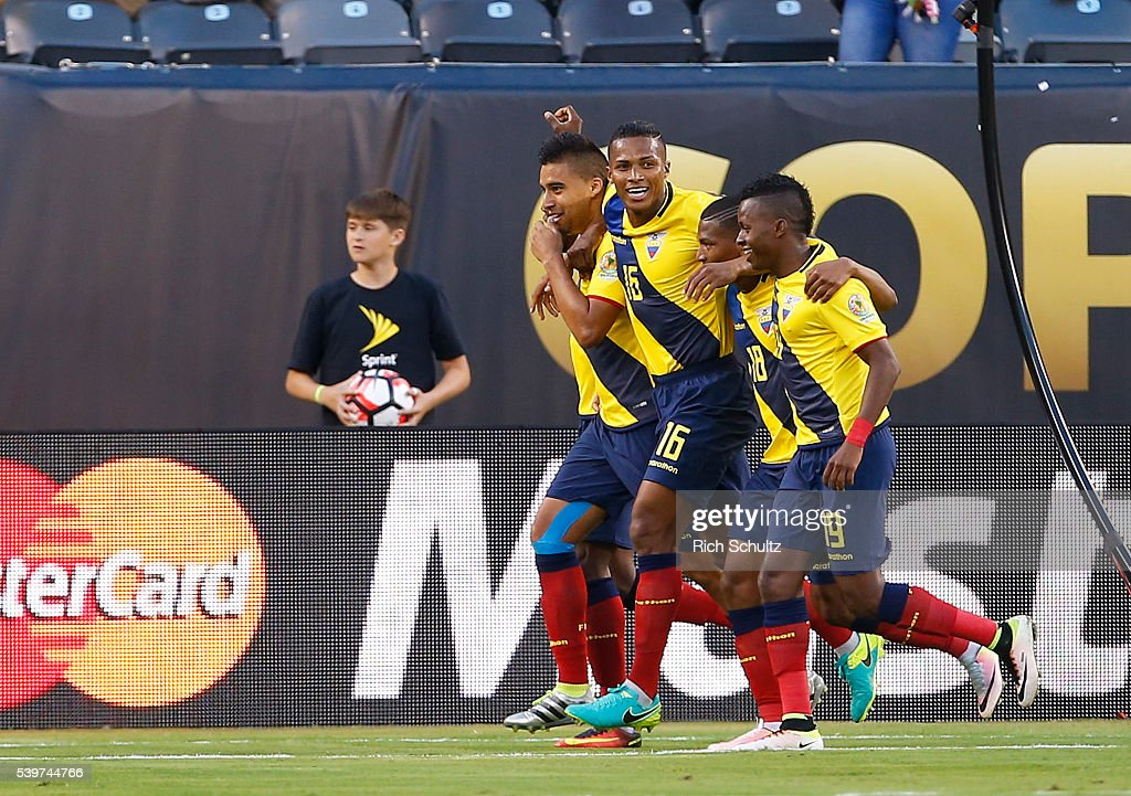 <a gi-track='captionPersonalityLinkClicked' href=/galleries/search?phrase=Antonio+Valencia&family=editorial&specificpeople=543830 ng-click='$event.stopPropagation()'>Antonio Valencia</a> of Ecuador celebrates with teammates after scoring fourth goal of his team during a group B match between Ecuador and Haiti at MetLife Stadium as part of Copa America Centenario US 2016 on June 12, 2016 in East Rutherford, New Jersey, US.
