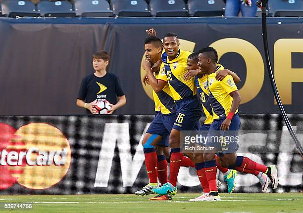 Antonio Valencia of Ecuador celebrates with teammates after scoring fourth goal of his team during a group B match between Ecuador and Haiti at...