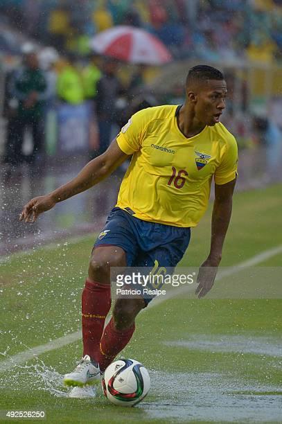 Antonio Valencia of Ecuador controls the ball during a match between Ecuador and Bolivia as part of FIFA 2018 World Cup Qualifier at Atahualpa...