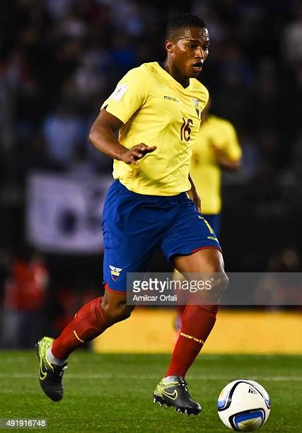 Antonio Valencia of Ecuador drives the ball during a match between Argentina and Ecuador as part of FIFA 2018 World Cup Qualifier at Monumental...