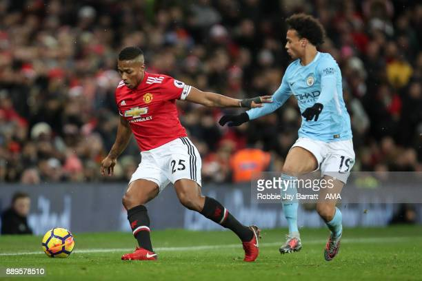 Antonio Valencia of Manchester United and Leroy Sane of Manchester City during the Premier League match between Manchester United and Manchester City...