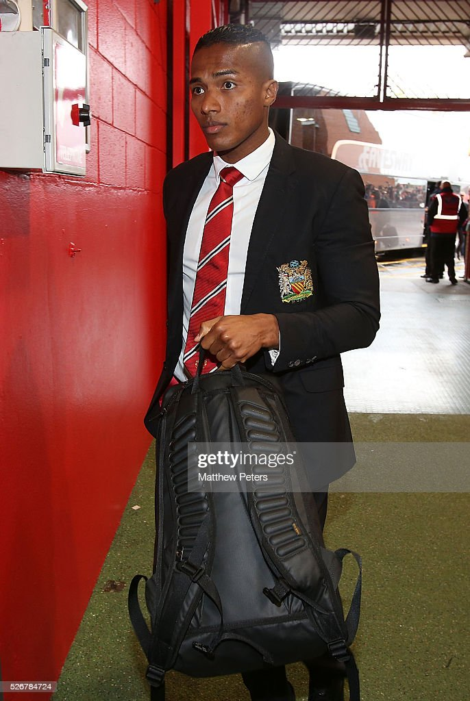 Antonio Valencia of Manchester United arrives at Old Trafford ahead of the Barclays Premier League match between Manchester United and Leicester City at Old Trafford on May 1, 2016 in Manchester, England.