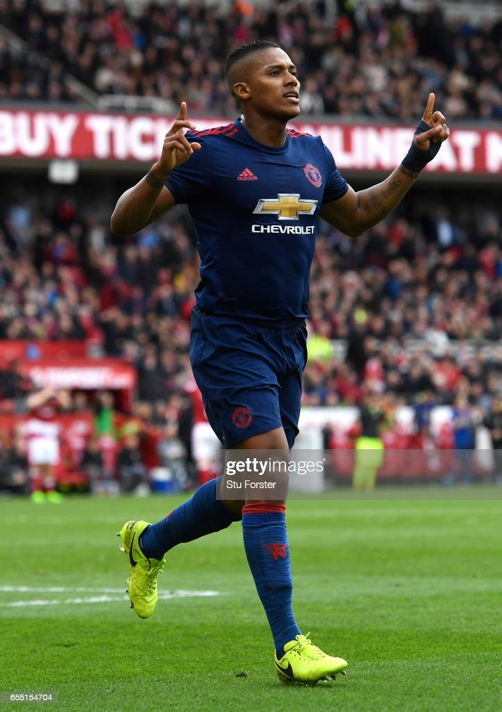 Antonio Valencia of Manchester United celebrates scoring his sides third goal during the Premier League match between Middlesbrough and Manchester United at Riverside Stadium on March 19, 2017 in Middlesbrough, England.
