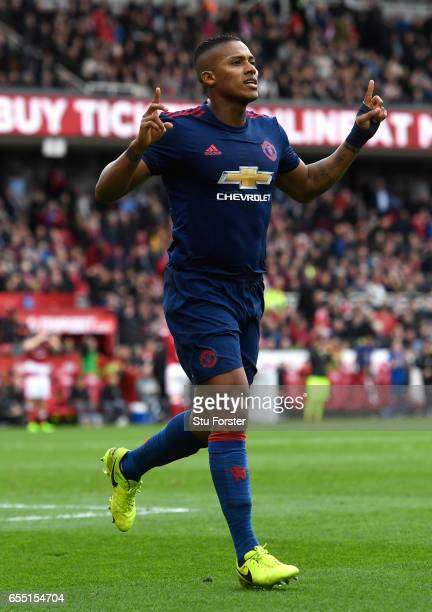 Antonio Valencia of Manchester United celebrates scoring his sides third goal during the Premier League match between Middlesbrough and Manchester...