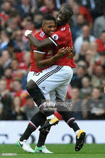Antonio Valencia of Manchester United celebrates scoring his sides first goal with Eric Bailly of Manchester United during the Premier League match...