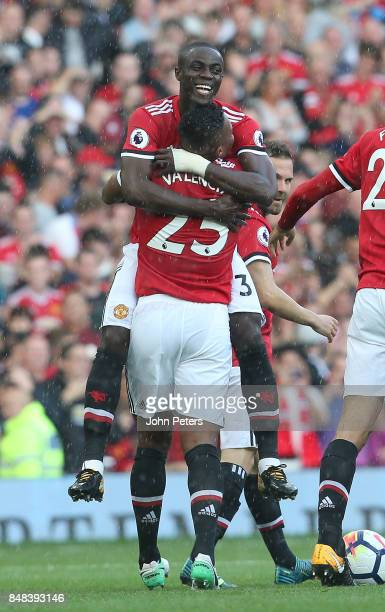 Antonio Valencia of Manchester United celebrates scoring their first goal during the Premier League match between Manchester United and Everton at...