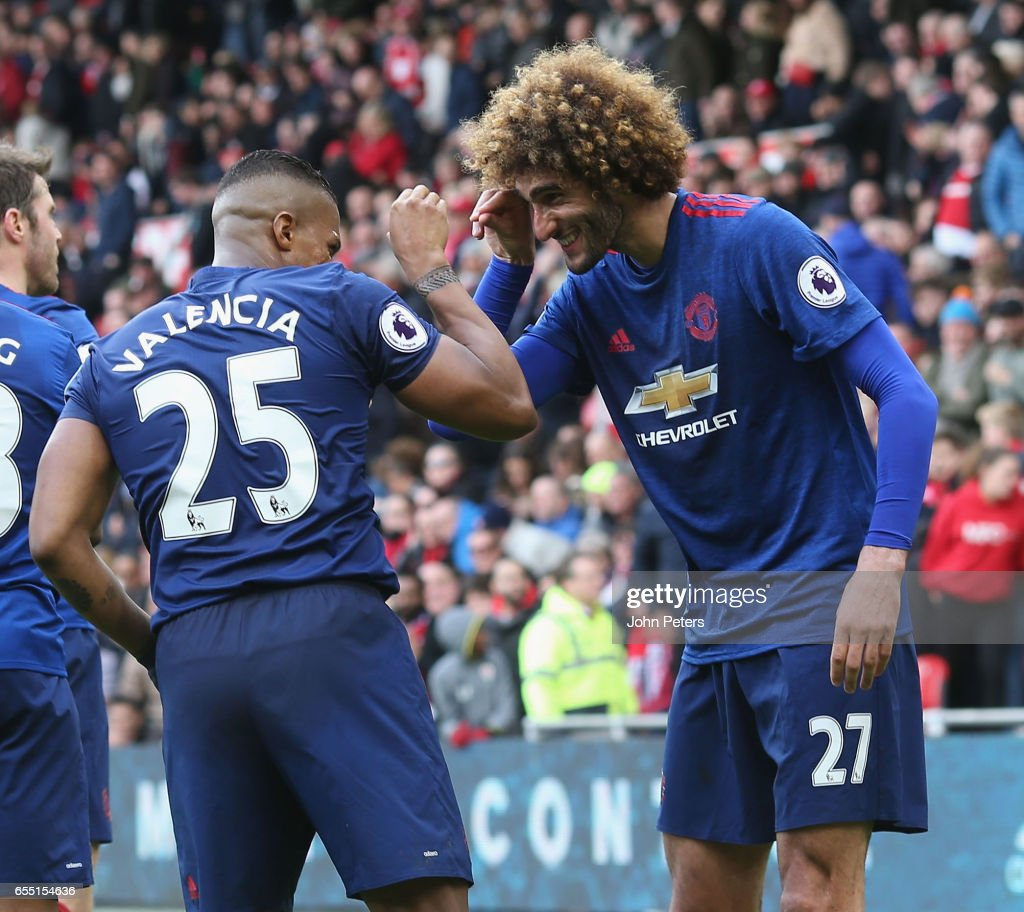 Antonio Valencia of Manchester United celebrates scoring their third goal during the Premier League match between Middlesbrough and Manchester United at Riverside Stadium on March 19, 2017 in Middlesbrough, England.