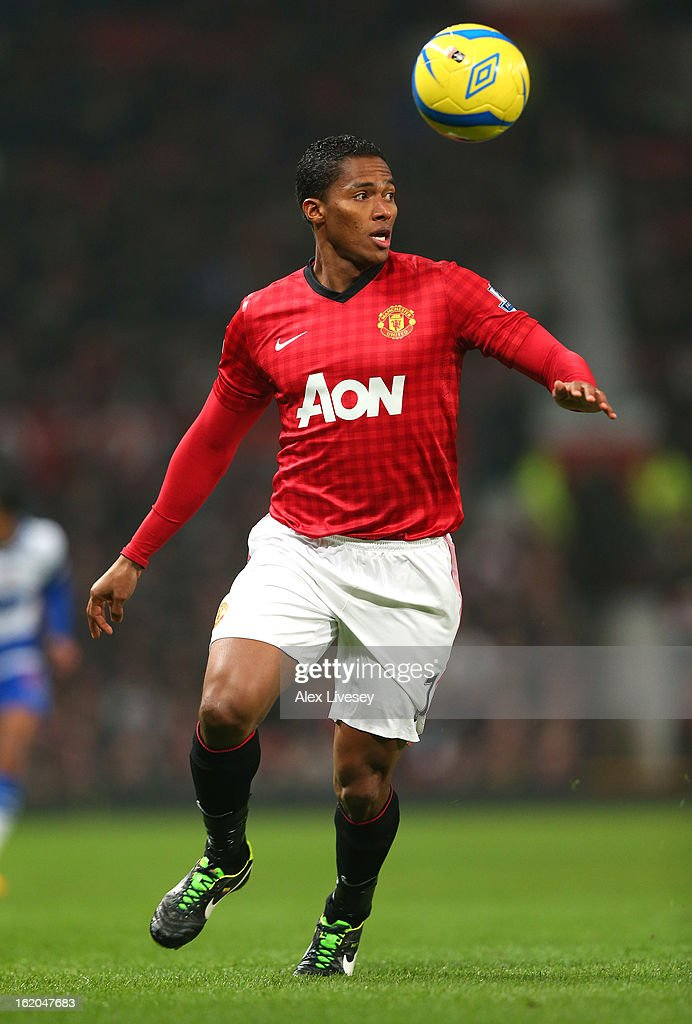 Antonio Valencia of Manchester United controls the ball during the FA Cup Fifth Round match between Manchester United and Reading at Old Trafford on February 18, 2013 in Manchester, England.