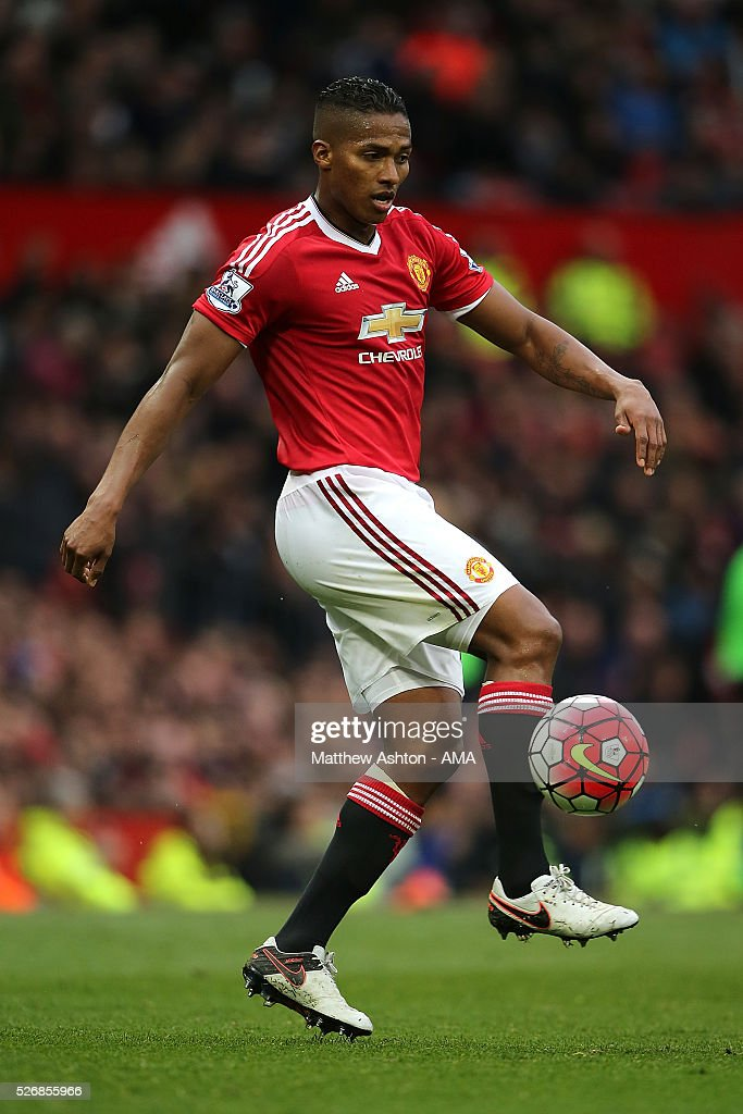Antonio Valencia of Manchester United in action during the Barclays Premier League match between Manchester United and Leicester City at Old Trafford on May 1, 2016 in Manchester, United Kingdom.
