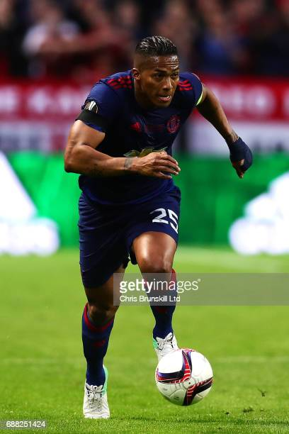 Antonio Valencia of Manchester United in action during the UEFA Europa League Final match between Ajax and Manchester United at Friends Arena on May...