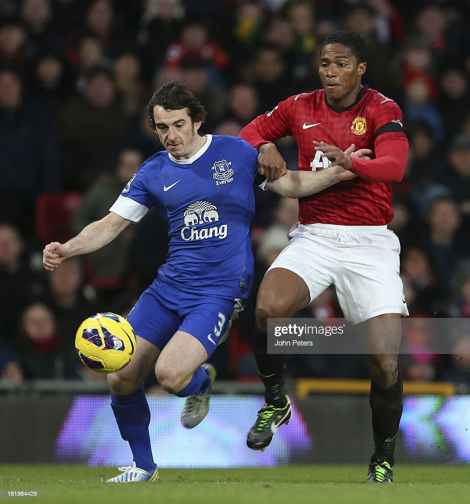 Antonio Valencia of Manchester United in action with Leighton Baines of Everton during the Barclays Premier League match between Manchester United and Everton at Old Trafford on February 10, 2013 in Manchester, England.