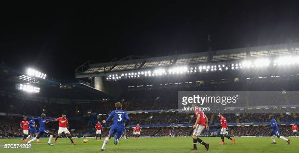 Antonio Valencia of Manchester United in action with Tiemoue Bakayoko of Chelsea during the Premier League match between Chelsea and Manchester...