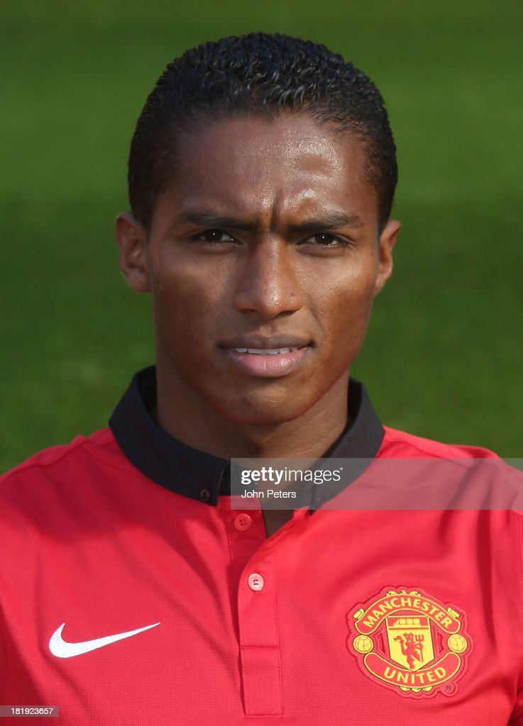 Antonio Valencia of Manchester United poses at the annual club photocall at Old Trafford on September 26, 2013 in Manchester, England.