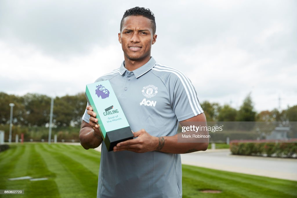 Antonio Valencia of Manchester United poses with the Carling Goal of the Month Award for September 2017 on October 12, 2017 in Manchester, England.