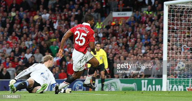 Antonio Valencia of Manchester United scores their first goal during the UEFA Champions League SemiFinal second leg match between Manchester United...
