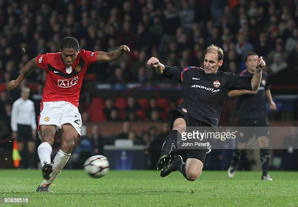 Antonio Valencia of Manchester United scores their third goal during the UEFA Champions League match between Manchester United and CSKA Moscow at Old...