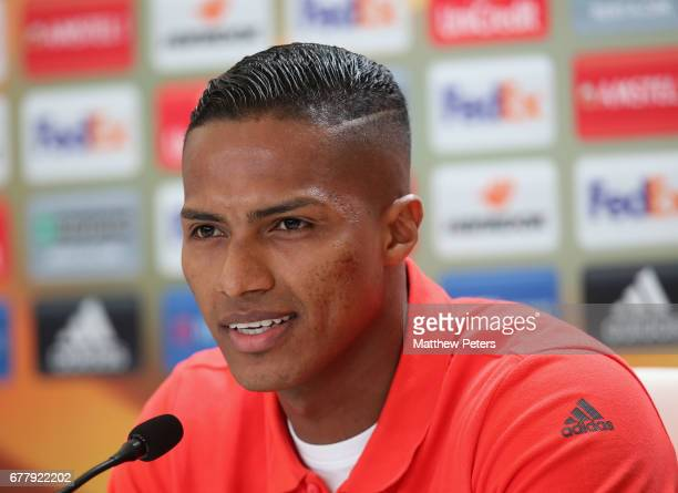 Antonio Valencia of Manchester United speaks during a press conference at Estadio Balaidos on May 3 2017 in Vigo Spain