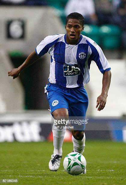 Antonio Valencia of Wigan Athletic in action during a pre season friendly at Easter Road August 5 2008 in Edinburgh Scotland