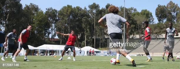 Antonio Valencia Phil Jones Henrikh Mkhitaryan Marouane Fellaini Axel Tuanzebe and Eric Bailly of Manchester United in action during a first team...