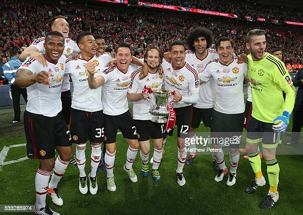 Antonio Valencia Phil Jones Jesse Lingard Ander Herrera Daley Blind Chris Smalling Marouane Fellaini Matteo Darmian and David de Gea of Manchester...